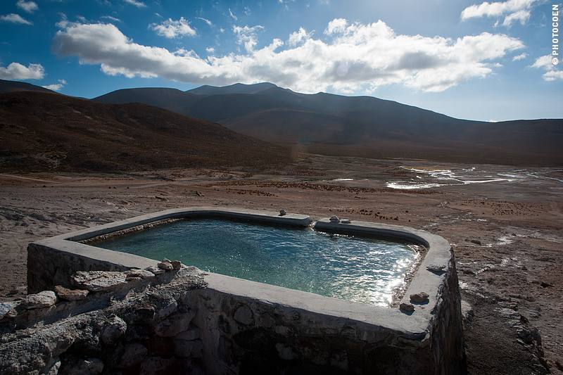 Hot springs in South America: Thermal Bath of Puchuldiza in North Chile.