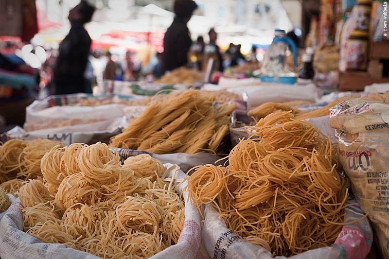 Pasta for sale at a market in La Paz.