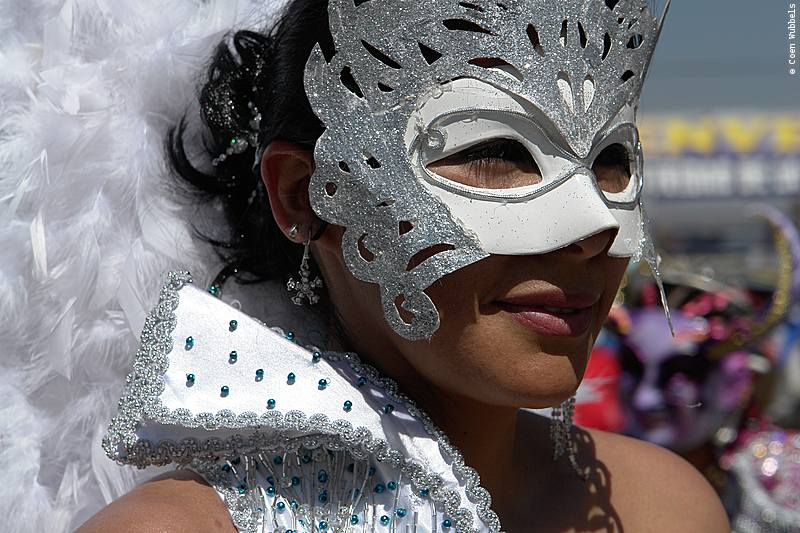 A white masque that is worn as part of La Diablada Dance in Bolivia