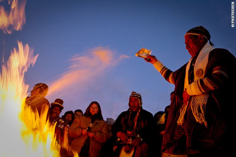 Bolivian Celebration: the Aymara New Year and sprinkling offerings in the fire