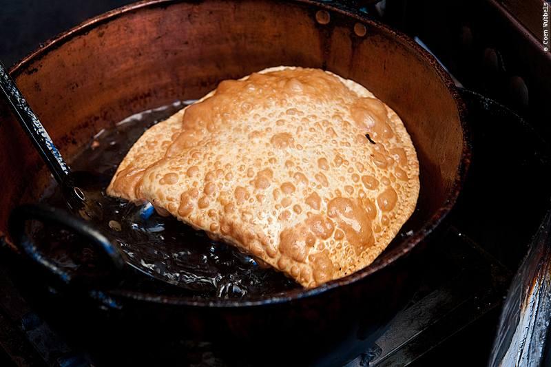 Bolivia food, a deep fried pastel