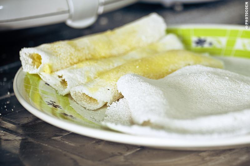 Eating starch, a plate with homemade beiju (tapioca) pancakes