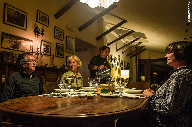 Sharing a meal in the hacienda's 'comedor' in good company of other guests.