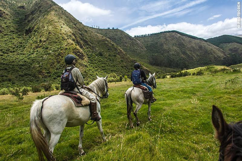Horseback riding to the ancient, truncated pyramids of the Caranqui Civilization.