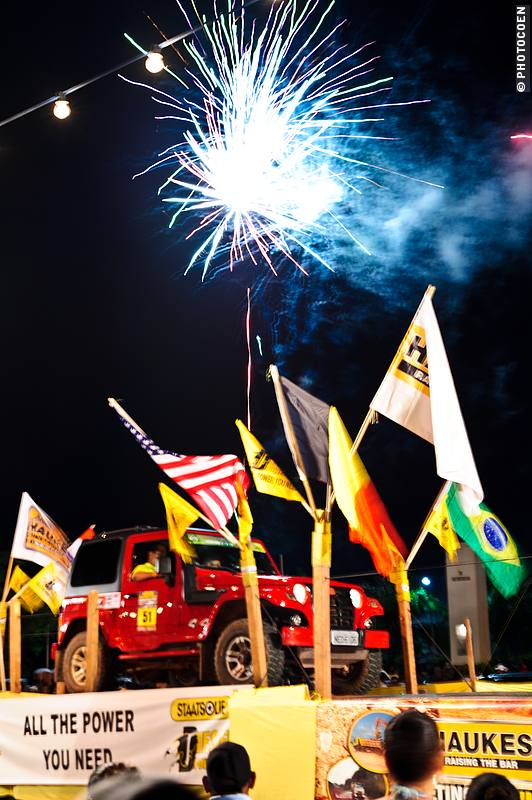 The four-day rally started with fireworks in Paramaribo, the capital.