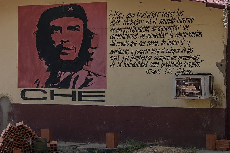 The ideals of Che Guevara displayed on a wall on the farm.