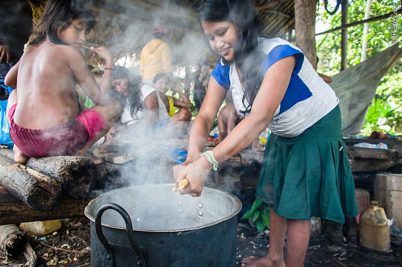 Modern way: Warao woman cooking pasta.