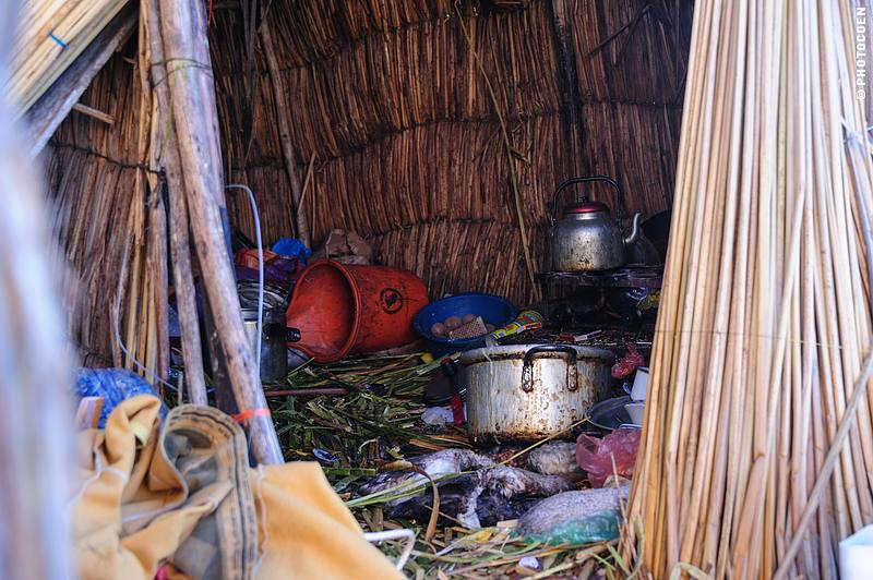 The inside of a reed home of Uros People, who live on Lake Titicaca.