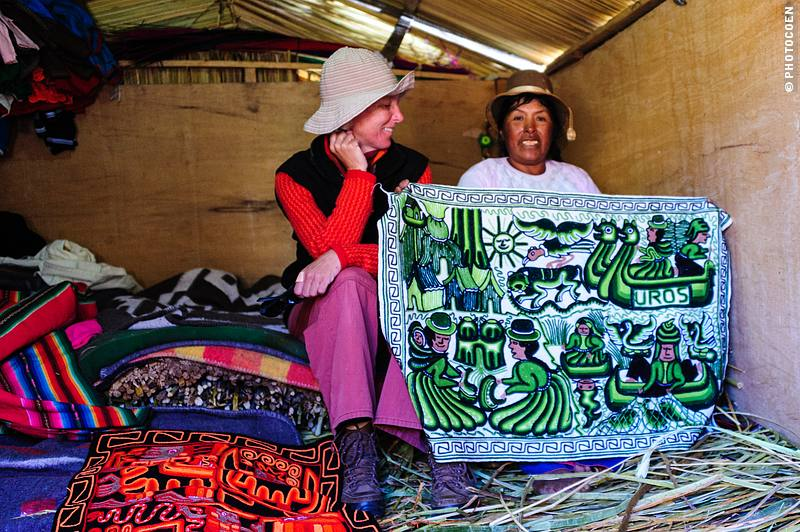 One of the Uros women showing handicrafts.