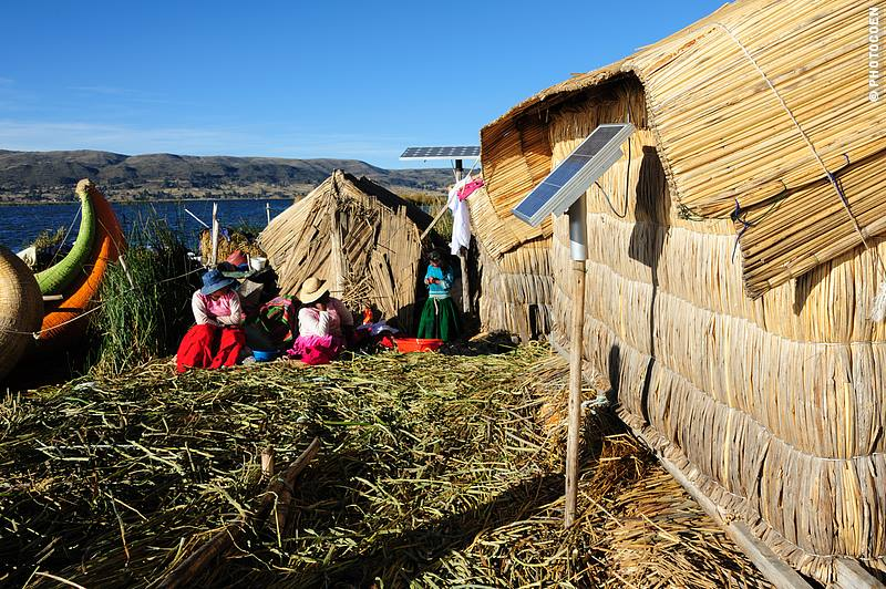 Homes made of reeds on an island of reeds of the Uros People, who live on Lake Titicaca