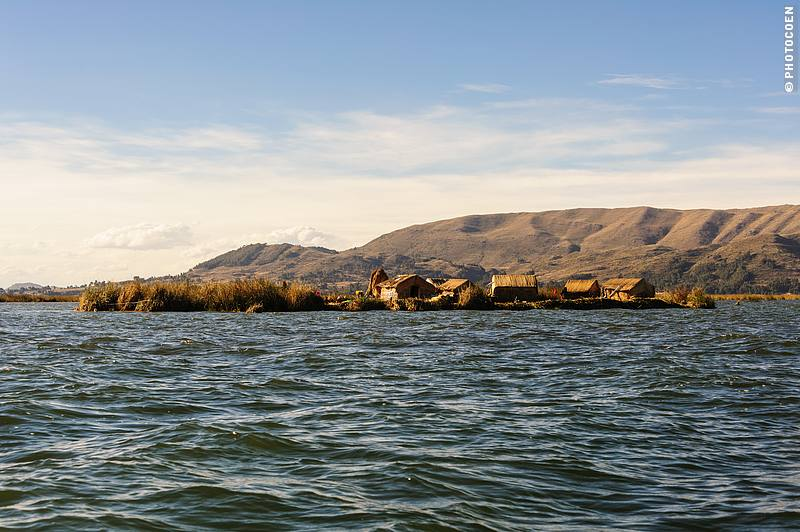 An island of reeds in Lake Titicaca, home to Uros People.
