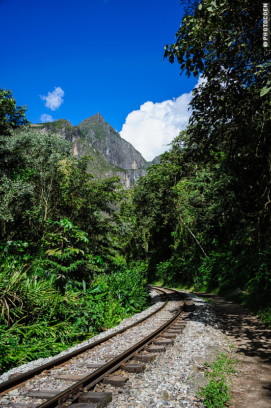 The Backdoor Trail to Machu Picchu  runs along a railway track.