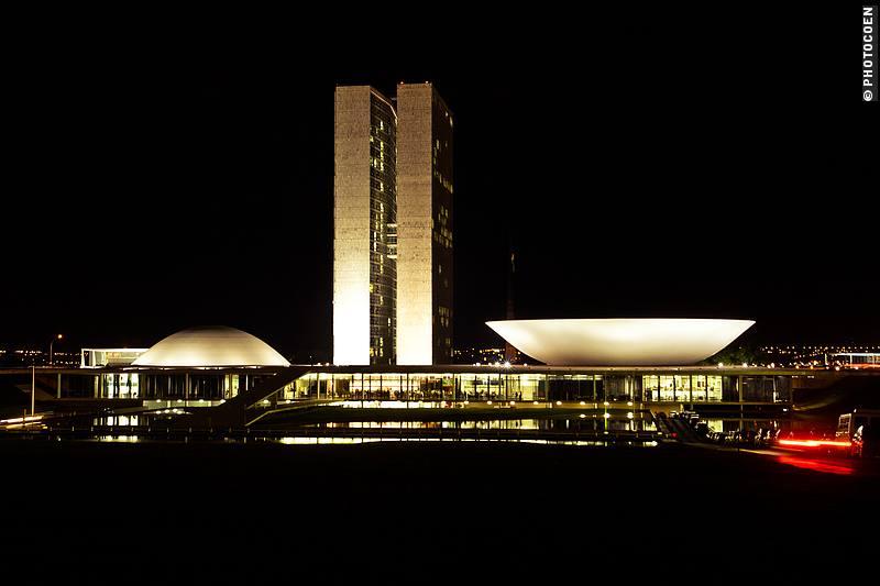Oscar Niemeyer's modern architecture on Praça dos Três Poderes, Brasília.